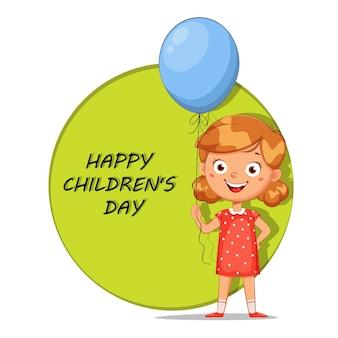 Cartão de saudação de feliz dia das crianças. menina bonitinha com balão azul