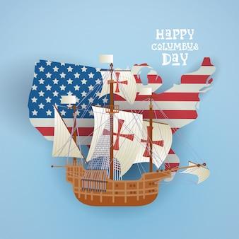 Cartão de saudação de feriado de columbus day national usa feliz com navio sobre o mapa da bandeira americana