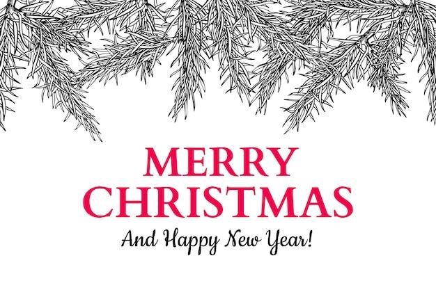 Cartão de saudação de feriado de natal com galhos de árvore do abeto