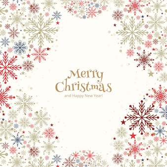 Cartão de saudação de flocos de neve coloridos decorativos de natal
