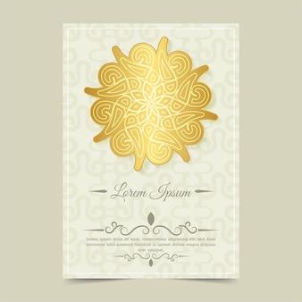 Cartão de saudação de luxo em estilo mandala dourado