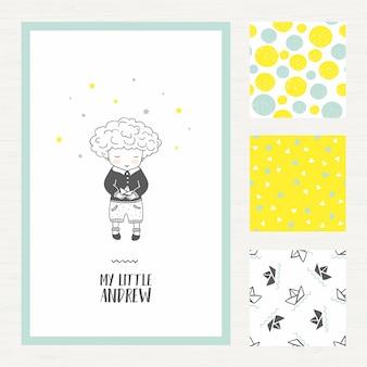 Cartão de saudação de menino pequeno e definir padrões de crianças
