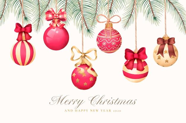 Cartão de saudação de natal em aquarela com bolas de natal