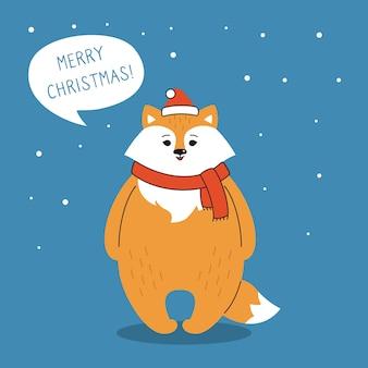 Cartão de saudação de natal, raposa com balão de diálogo no chapéu de papai noel