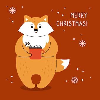 Cartão de saudação de natal, raposa com xícara de cacau