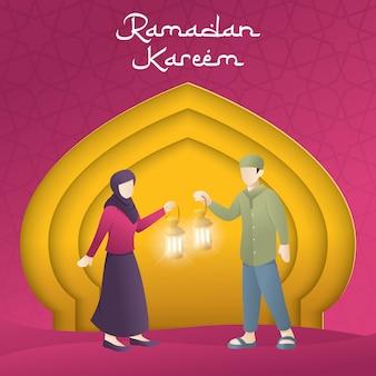 Cartão de saudação de papel de saudação de ramadã