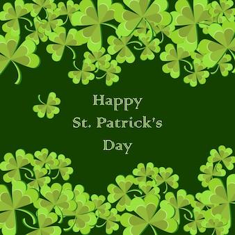 Cartão de saudação de st patricks day com folhas de trevo