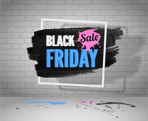 Cartão de saudação de venda de sexta-feira negra. banner de vetor de moda de cor rosa azul com moldura branca.