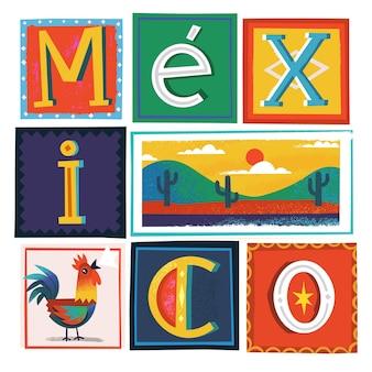 Cartão de saudação de viagem com símbolos tradicionais do méxico e letras decoradas. ilustração vetorial