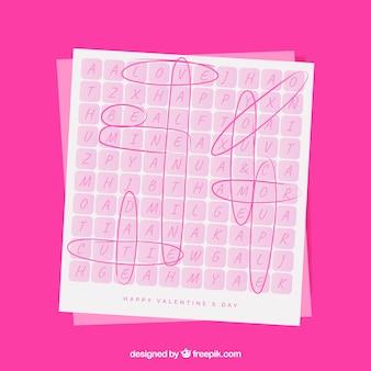 Cartão de saudação dos namorados de palavras cruzadas