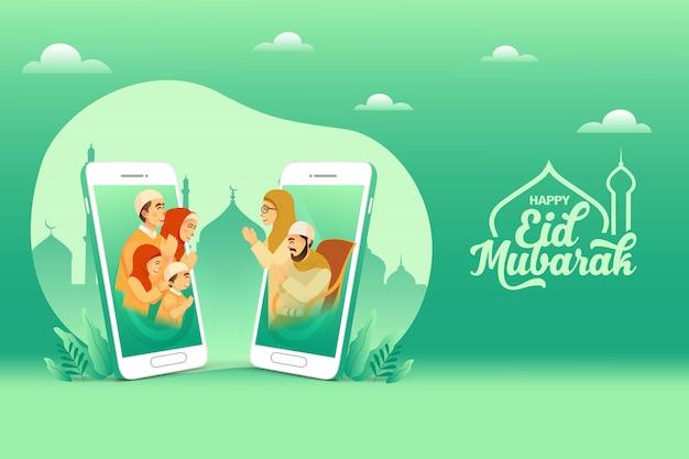 Cartão de saudação eid mubarak. família muçulmana abençoa eid mubarak aos avós através de telas de smartphones usando videochamadas durante a pandemia de covid-19