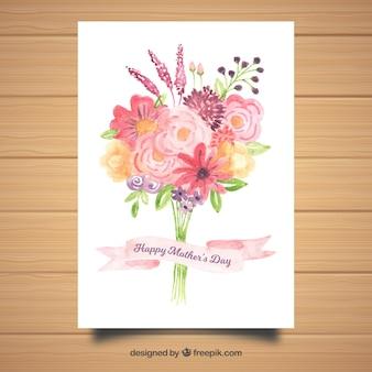 Cartão de saudação em aquarela feliz dia das mães
