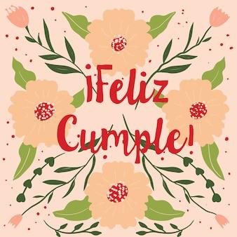 Cartão de saudação feliz cumple. feliz aniversário em espanhol