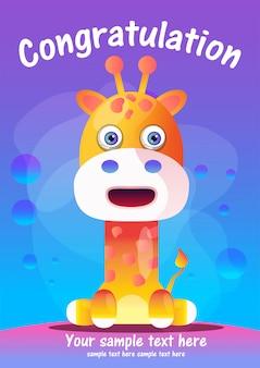 Cartão de saudação girafa bonito dos desenhos animados