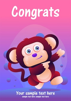 Cartão de saudação macaco bonito dos desenhos animados