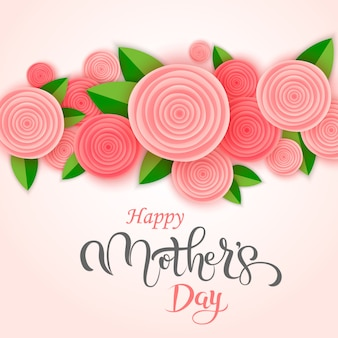 Cartão de saudação manuscrita de dia das mães com flores Vetor Premium