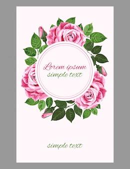 Cartão de saudação ou convite com coroa de rosas concurso