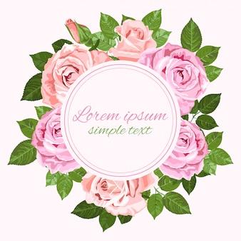Cartão de saudação ou convite com coroa de rosas cor de rosa e bege