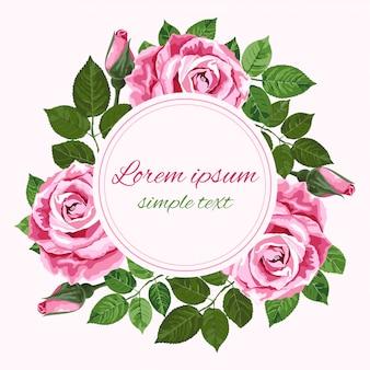 Cartão de saudação ou convite com coroa de rosas rosa