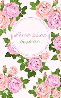 Cartão de saudação ou convite com flores rosas rosa e bege