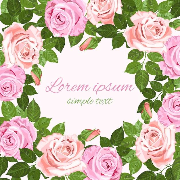 Cartão de saudação ou convite com moldura de rosas cor de rosa e bege