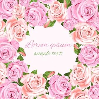 Cartão de saudação ou convite com rosas rosa e bege