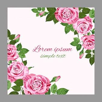 Cartão de saudação ou convite com rosas rosa