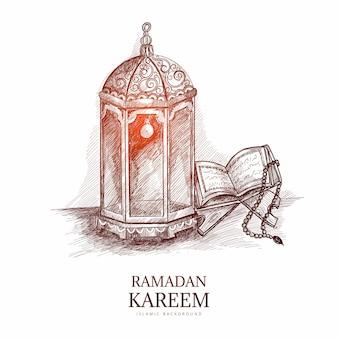 Cartão de saudação ramadan kareem esboço desenhado à mão