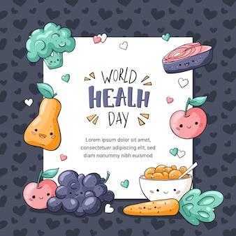 Cartão de saudação saudável de alimentos em estilo doodle com letras