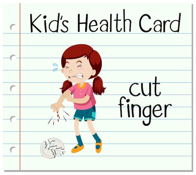 Cartão de saúde com garota cortando dedo