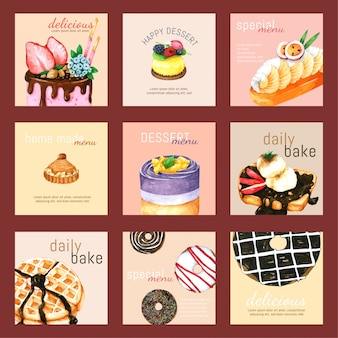 Cartão de sobremesa conjunto aquarela desenhada de mão para design