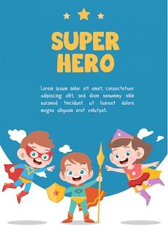 Cartão de super-herói de crianças