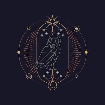 Cartão de tarô astrológico de coruja geométrica
