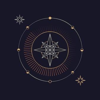 Cartão de tarô astrológico estrela geométrica