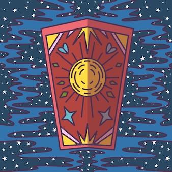 Cartão de tarô, céu estrelado, magia