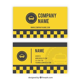 Cartão de táxi amarelo com quadrados