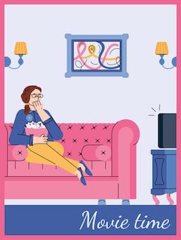Cartão de tempo de filme com mulher assistindo tv em casa ilustração vetorial de desenho animado