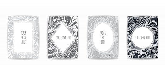Cartão de textura de mármore preto e cinza
