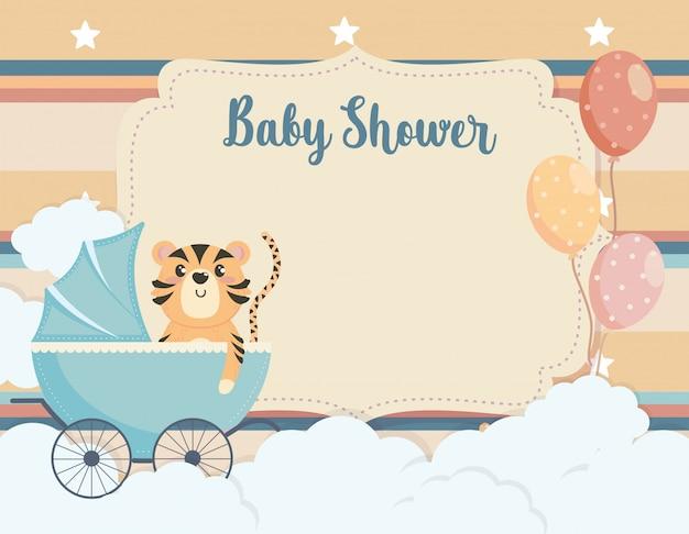 Cartão de tigre bonito na carruagem e balões