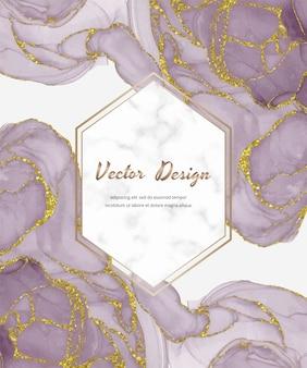 Cartão de tinta álcool aquarela ouro rosa com textura de glitter dourados e moldura hexágono de mármore.