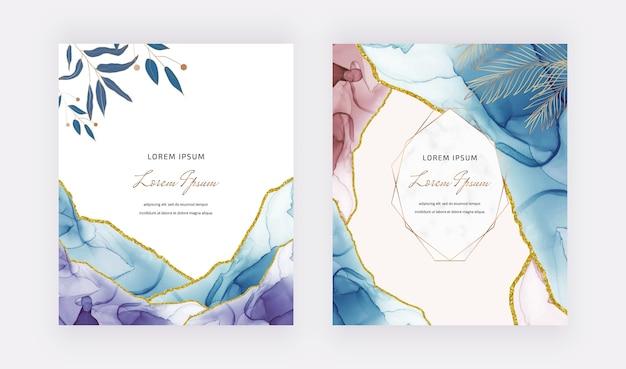 Cartão de tinta álcool azul e vermelho com molduras geométricas de mármore e folhas