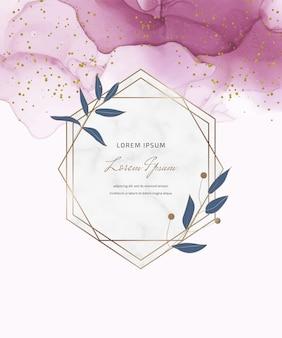 Cartão de tinta álcool rosa com molduras de mármore geométricas e folhas, confetes. fundo pintado à mão abstrato.