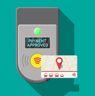 Cartão de transporte próximo ao terminal. validador de terminal de bilhetes de aeroporto, metrô, ônibus e metrô.