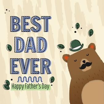 Cartão de urso para o dia dos pais