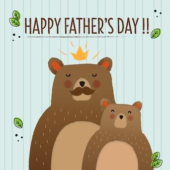 Cartão de ursos para o dia dos pais