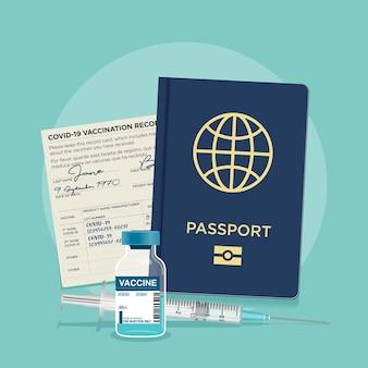 Cartão de vacina do frasco de coronavírus covid19 e identificação de viagem do passaporte