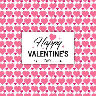 Cartão de valentine com fundo de corações rosa