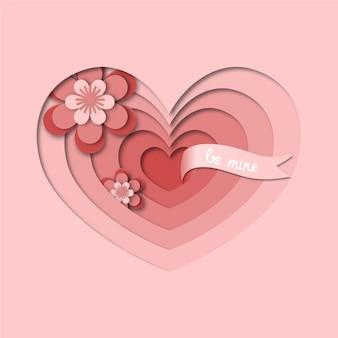 Cartão de valentine de corte de papel