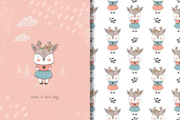 Cartão de veado menina e padrão sem emenda