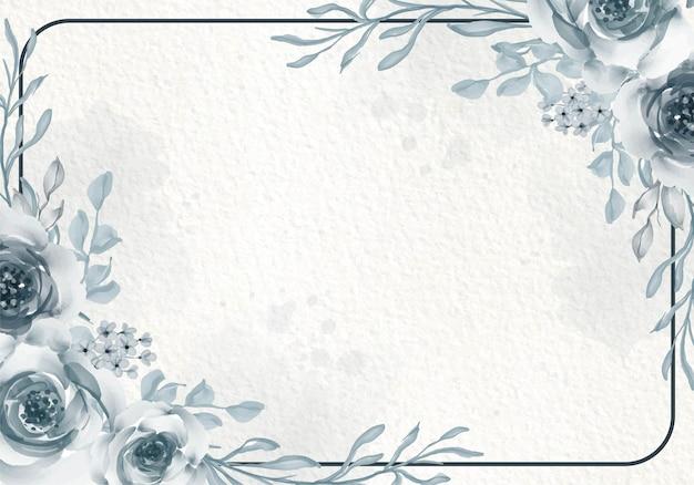Cartão de vegetação azulado botânico com flores silvestres, folhas, quadro.